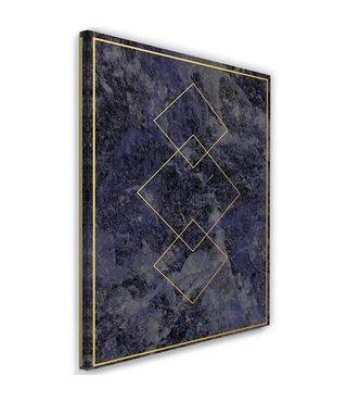 Schilderij , Gouden vierkanten , 2 maten , zwart geel , wanddecoratie