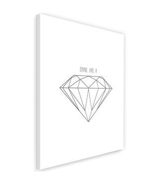 Schilderij , Getekende diamant , 2 maten, zwart wit , wanddecoratie