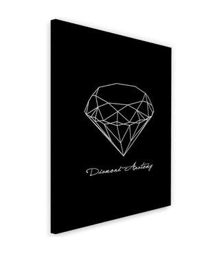Schilderij , Anatomie van een Diamant , 2 maten, zwart wit , wanddecoratie
