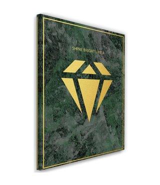 Schilderij , Shine bright like a diamond  2, 2 maten , groen geel , wanddecoratie