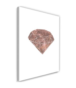 Schilderij , Roze diamant , 2 maten , wit roze , wanddecoratie