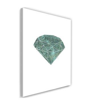 Schilderij , Groene diamant , 2 maten , wit groen, wanddecoratie