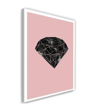Schilderij , Zwarte diamant 2   , zwart roze ,wanddecoratie