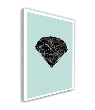 Schilderij , Zwarte diamant , 2 maten , zwart groen ,wanddecoratie