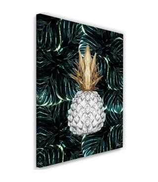 Schilderij , Witte ananas op tropisch groen , 2 maten , wit groen geel , wanddecoratie