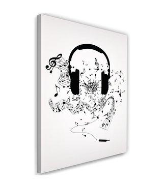 Schilderij Koptelefoon met noten, print op canvas, zwart/wit