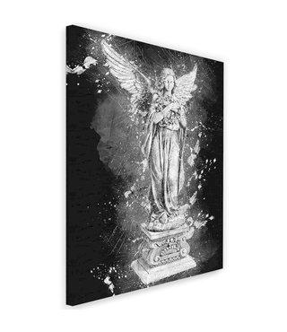 Schilderij Beeld van een Engel, print op canvas, zwart/wit