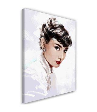 Schilderij Audrey Hepburn 3 , 2 maten , zwart wit ,Premium print