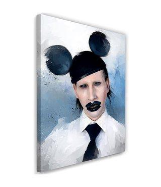 Schilderij Marilyn Manson muis , 2 maten, zwart wit blauw , wanddecoratie