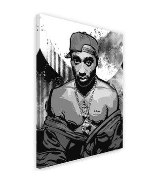 Schilderij , Tupac ,Rapper , 2 maten, zwart wit , wanddecoratie
