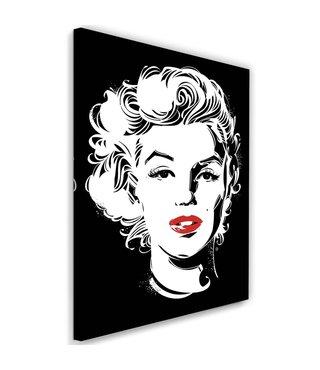 Schilderij Marilyn Monroe , Filmster , 2 maten , zwart wit , Wanddecoratie
