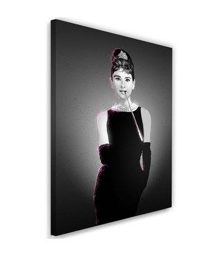 Schilderij Audrey Hepburn  2, Filmster , 2 maten, zwart wit , wanddecoratie