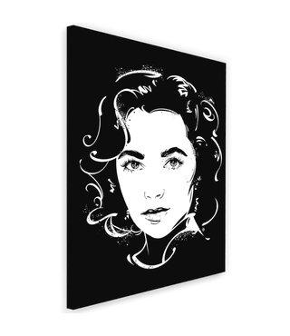 Schilderij Elizabeth Taylor , 2 maten ,Zwart wit , wanddecoratie , Premium Print
