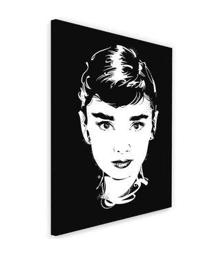 Schilderij Audrey Hepburn , Filmster , 2 maten , zwart wit , wanddecoratie