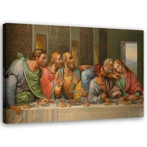 Schilderij , Het laatste avondmaal van Leonardo Da Vinci ,2 maten ,reproductie , multikleur
