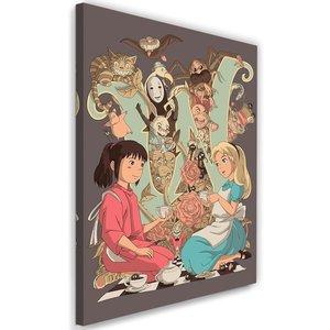 Schilderij , Thee feestje , Alice in Wonderland ,2 maten , multikleur , Wanddecoratie , Premium Print