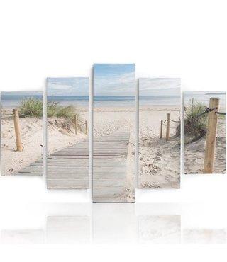 Schilderij , Looppad naar het strand, Multikleur ,4 maten , 5 luik , wanddecoratie , Premium print , XXL