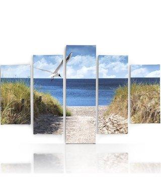 Schilderij , Zeemeeuw op het strand, Multikleur ,4 maten , 5 luik , wanddecoratie , Premium print , XXL