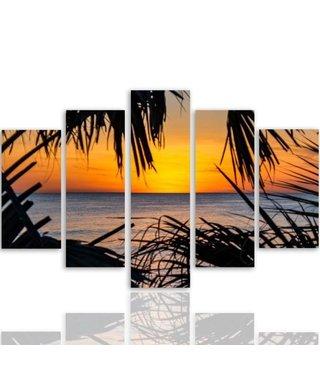 Schilderij ,Tropische Zonsondergang aan het strand , Multikleur ,4 maten , 5 luik , wanddecoratie , Premium print , XXL