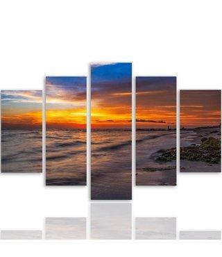 Schilderij , Kleurrijke Zonsondergang aan het strand , Multikleur ,4 maten , 5 luik , wanddecoratie , Premium print , XXL