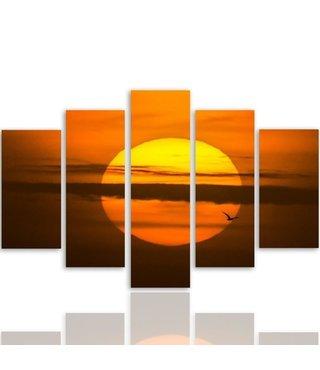 Schilderij , Zonsondergang , Oranje bruin ,4 maten , 5 luik , wanddecoratie , Premium print , XXL