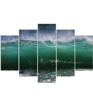 Schilderij , Golven in de Branding , Groen wit ,4 maten , 5 luik , wanddecoratie , Premium print , XXL