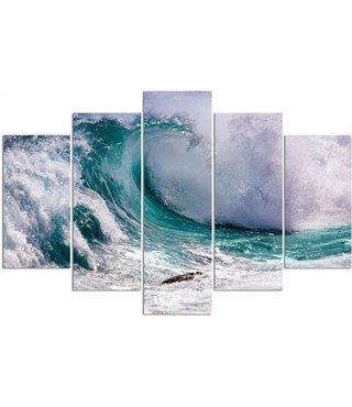 Schilderij , Surf golf, wit blauw ,4 maten , 5 luik , wanddecoratie , Premium print , XXL