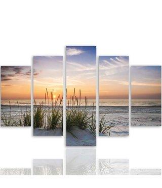 Schilderij , Gras op het Strand , Multikleur ,4 maten , 5 luik , wanddecoratie , Premium print , XXL