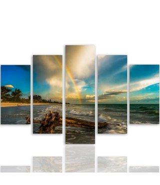 Schilderij , Regenboog aan de Kust , Multikleur ,4 maten , 5 luik , wanddecoratie , Premium print , XXL
