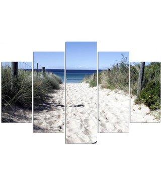 Schilderij , Zandpad naar de Zee , Wit groen blauw ,4 maten , 5 luik , wanddecoratie , Premium print , XXL