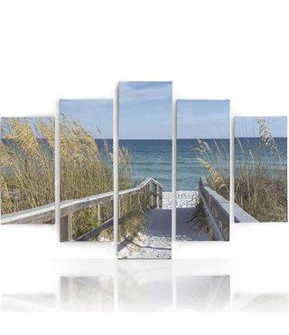 Schilderij , Uitzicht op Zee , Multikleur ,4 maten , 5 luik , wanddecoratie , Premium print , XXL