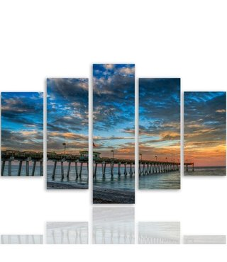 Schilderij , Steiger en Zonsondergang , Multikleur ,4 maten , 5 luik , wanddecoratie , Premium print , XXL
