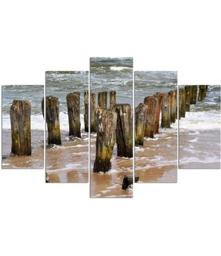 Schilderij , Golfbrekers aan zee , Bruin grijs ,4 maten , 5 luik , wanddecoratie , Premium print , XXL