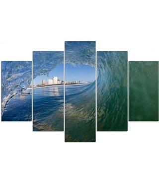 Schilderij , Zicht door het Surfgolf  , Groen blauw ,4 maten , 5 luik , wanddecoratie , Premium print , XXL