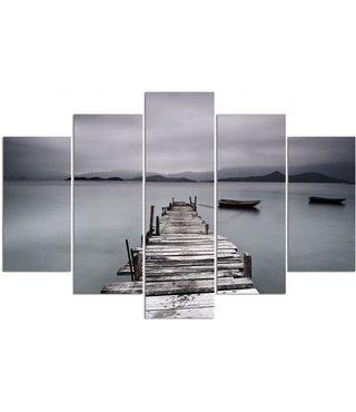 Schilderij , Grijze steiger en boot, Zwart grijs ,4 maten , 5 luik , wanddecoratie , Premium print , XXL