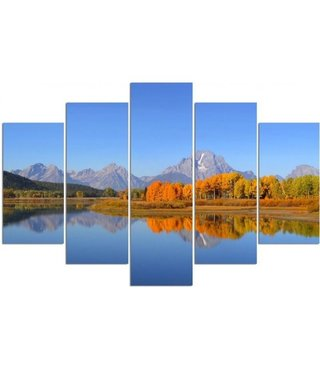 Schilderij , Grand Teton National Park ,Multikleur ,4 maten , 5 luik , wanddecoratie , Premium print , XXL