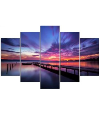 Schilderij , Kleurrijke lucht, Multikleur ,4 maten , 5 luik , wanddecoratie , Premium print , XXL
