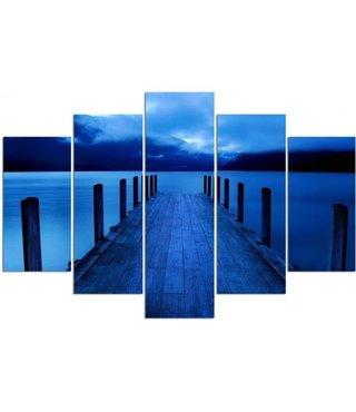 Schilderij , Blauwe Steiger ,4 maten , 5 luik , wanddecoratie , Premium print , XXL