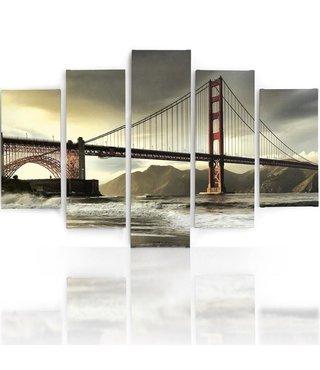 Schilderij , Zicht op Golden Gate Bridge II , Multikleur ,4 maten , 5 luik , wanddecoratie , Premium print , XXL