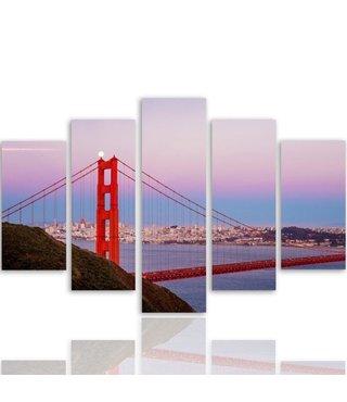 Schilderij , Zicht op Golden Gate Bridge  , Multikleur ,4 maten , 5 luik , wanddecoratie , Premium print , XXL