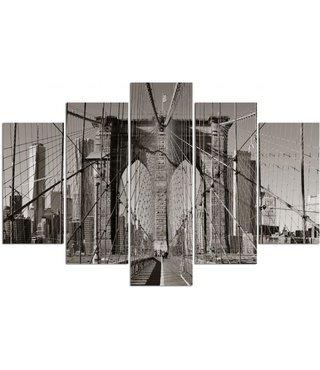 Schilderij , Zicht op Brooklyn Bridge  , Zwart grijs ,4 maten , 5 luik , wanddecoratie , Premium print , XXL