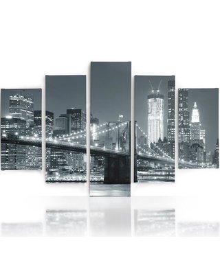 Schilderij , Brooklyn Bridge bij nacht , Zwart wit ,4 maten , 5 luik , wanddecoratie , Premium print , XXL