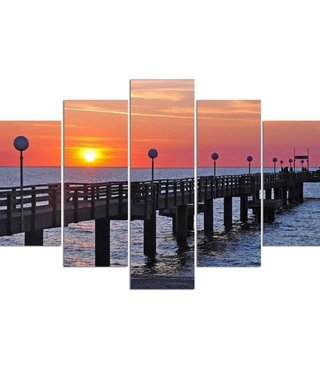 Schilderij , Zonsondergang in Baltische zee ,Multikleur ,4 maten , 5 luik , wanddecoratie , Premium print , XXL