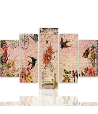 Schilderij , Postcard uit Parijs met vogels , Multikleur ,4 maten , 5 luik , wanddecoratie , Premium print , XXL