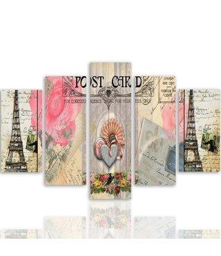 Schilderij , Postcard uit Parijs , Multikleur ,4 maten , 5 luik , wanddecoratie , Premium print , XXL