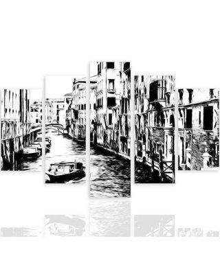 Schilderij , Kanaal in Venetië in Zwart wit,4 maten , 5 luik , wanddecoratie , Premium print , XXL