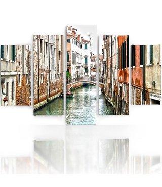 Schilderij , Kanaal in Venetië , Multikleur ,4 maten , 5 luik , wanddecoratie , Premium print , XXL