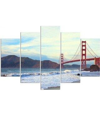 Schilderij , Golden Gate Bridge, Multikleur ,4 maten , 5 luik , wanddecoratie , Premium print , XXL