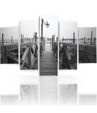 Schilderij , Houten aanleg steiger, Zwart wit ,4 maten , 5 luik , wanddecoratie , Premium print , XXL