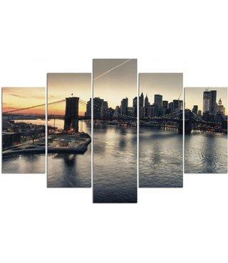 Schilderij , Zonsopkomst bij Brooklyn Bridge , Zwart grijs ,4 maten , 5 luik , wanddecoratie , Premium print , XXL